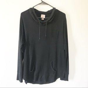 Black Cowl Neck Hoodie Sweater